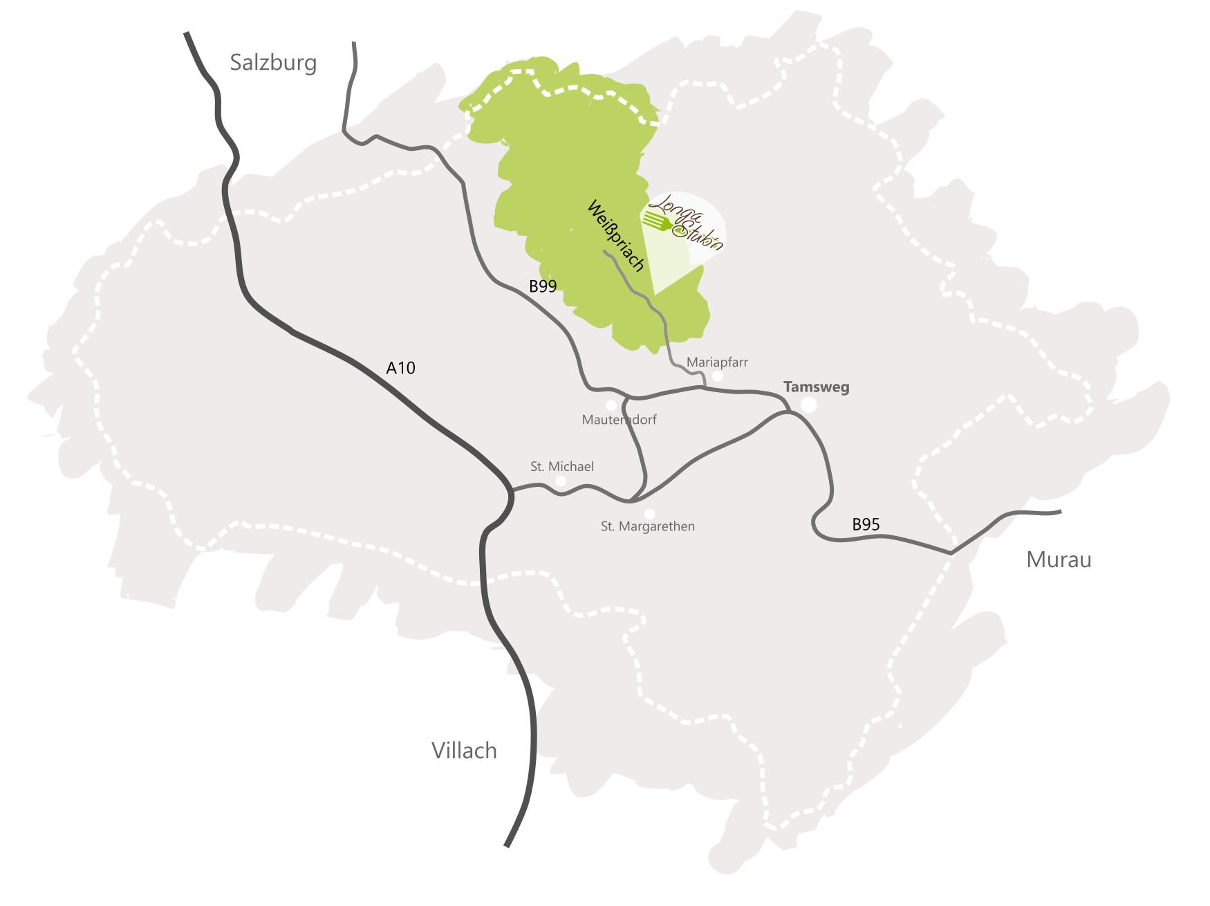 Karte Lungau Longastubn